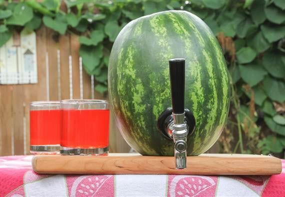 Wassermelone-Party idee mit einem diy Wassermelonen-Fass für erfrischende getränke
