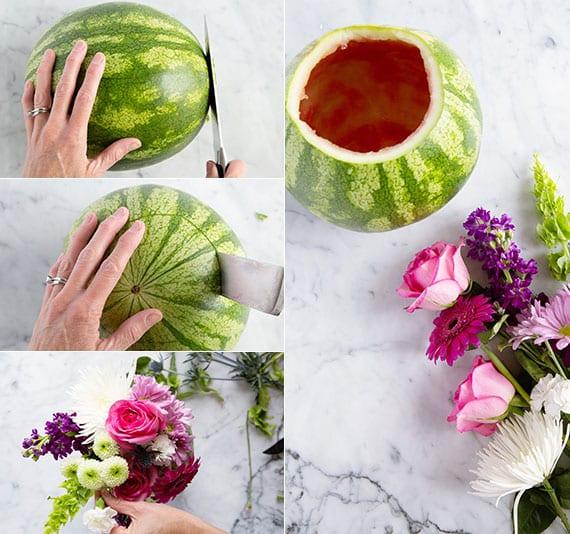coole tischdeko idee mit frischen blumen in vase aus wassermelone