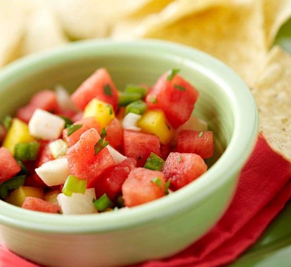 rezept für melonensalsa mit Tortilla Chips