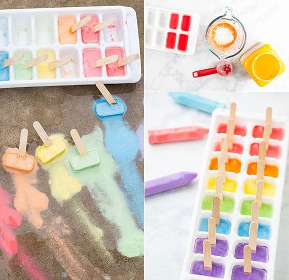 tolle Spielideen für Kinder und Anleitung für DIY Kreideeis zum Malen_