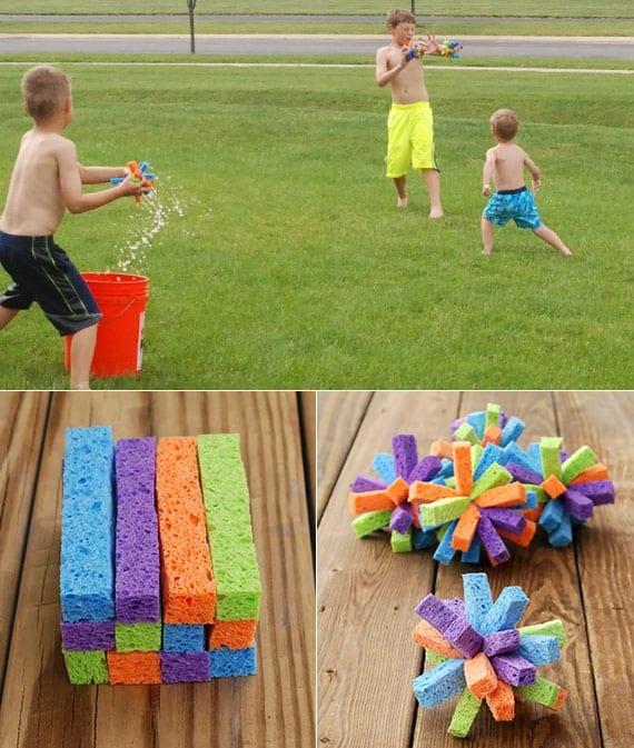 coole idee für lustige wasserspiele mit diy wasserbomben aus schwamm