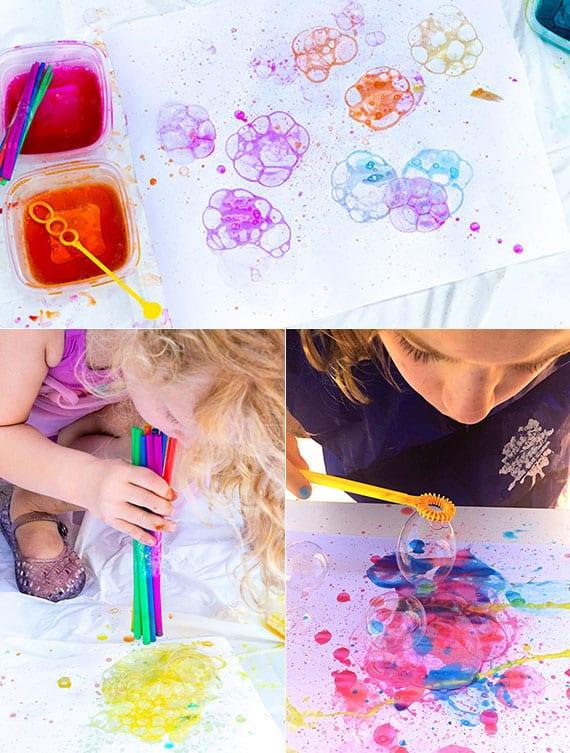tolle Bilder mit Seifenblasen malen_ideen für lustige sommeraktivitäten im garten