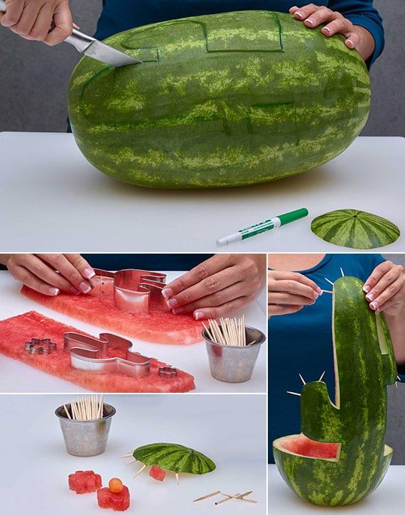 wassermelone kunstvoll schnitzen als eine kaktus-schale für obstsalat