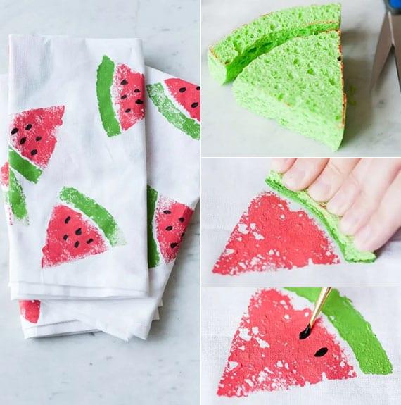 selbstgemachten servietten mit wassermelonenmuster für schöne sommer tischdeko