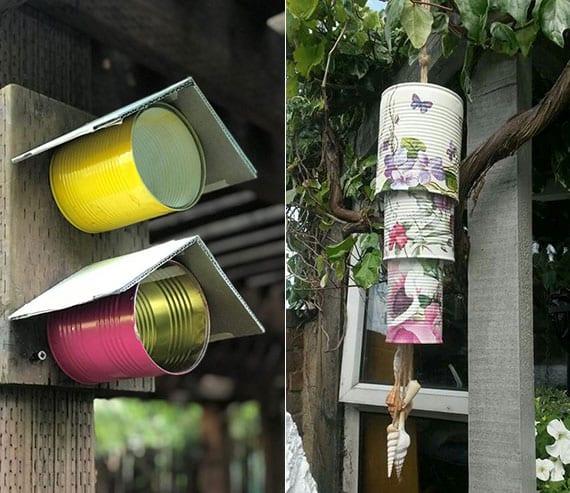 garten bunt dekorieren mit diy futterhaus oder diy windspiel aus konservendosen