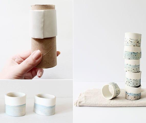 kreatives basteln mit modelliermasse und coole tisch dekoideen mit selbstgemachten Serviettenringe