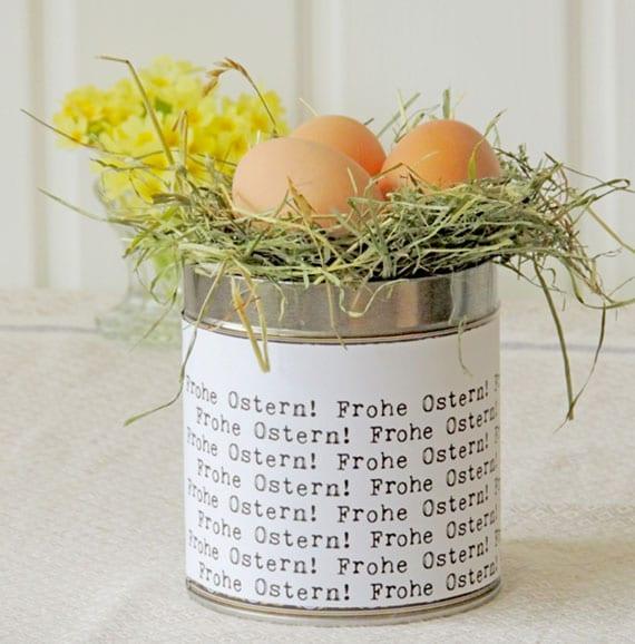 DIY Osternest Deko aus konserbendose mit oster-typo