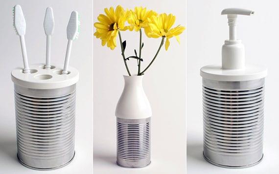 upcycling ideen mit dosendeckel aus kunststoff zur wiederverwendung leerer konservendosen als seifenspender, blumenvase oder zahnbürstenbecher