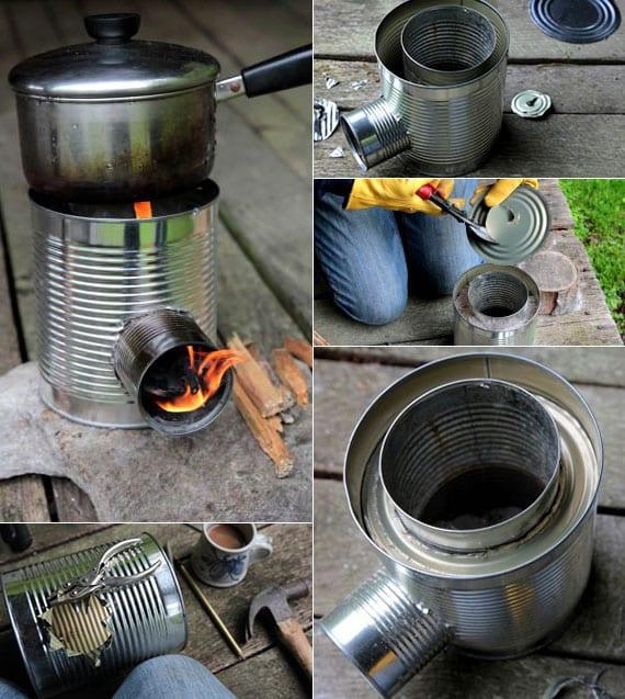 bauanleitung für einen praktischen raketenofen und tragbares lagerfeuer in einem aus leeren dosen