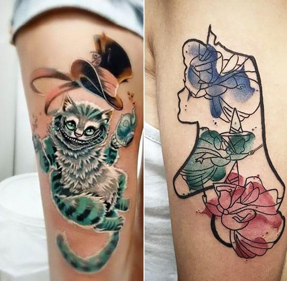 Grinsekatze und Alice als lebendige disney tattoo motive am bein oder arm