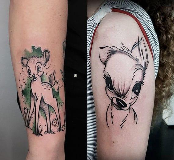 der kleine Weißwedelhirsch namens Bambi  als niedliche disney tattoo idee für arm