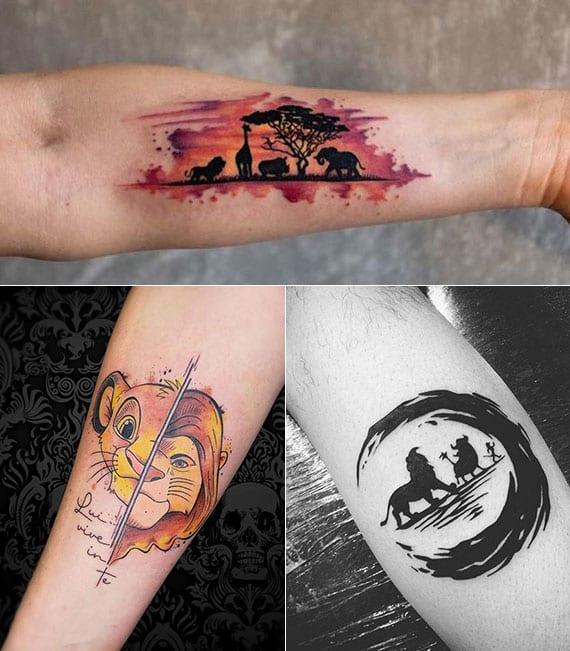 coole walt-disney-tattoo ideen aus dem film Der König der Löwen