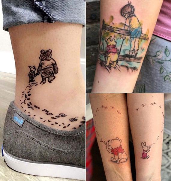 kleine farbige tätowierungen von Pu der Bär als tattoo ideen für unterarm, fuß- und handgelenk