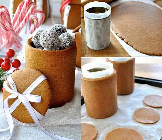 essbare geschenkboxen aus lebkuchenteig basteln und mit kleinen geschenken füllen