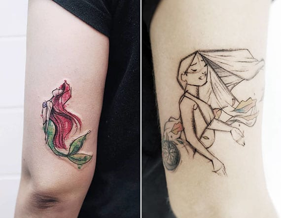 Pocahontas und Arielle als dezente sketch style tätowierungen und schöne diesney tattoo motive für arm
