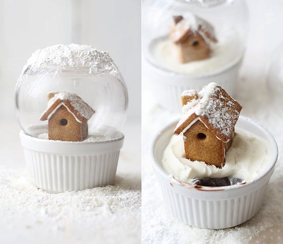 köstliche desserts aus der lebkuchenwelt_Schokopudding mit Sahne und Mini-Lebkuchehaus
