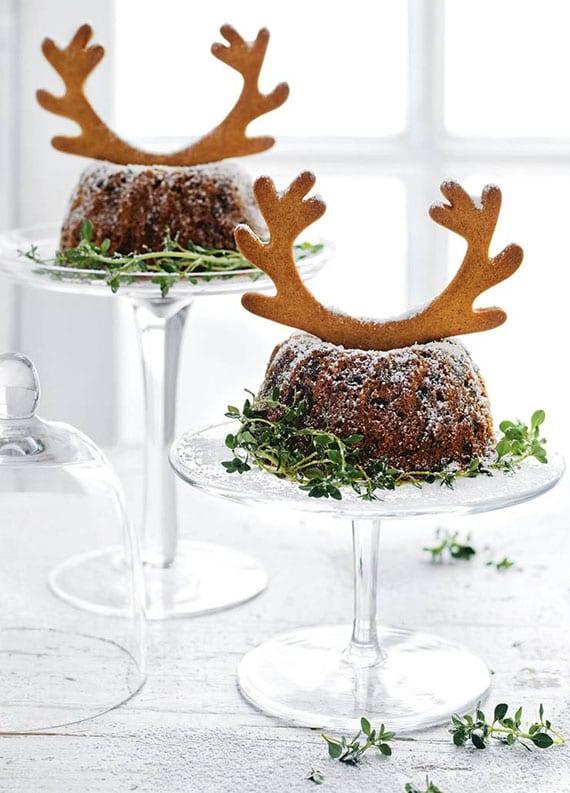 einfaches rezept für Moosbeeren-Feige-Napfkuchen mit Lebkuchen-Geweih