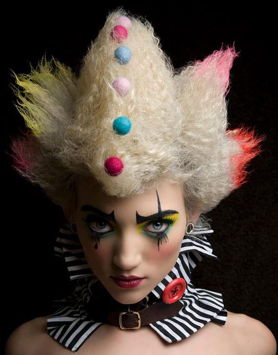 halloween makeup clown_attraktive schminke und frisur für effektvollen halloween look