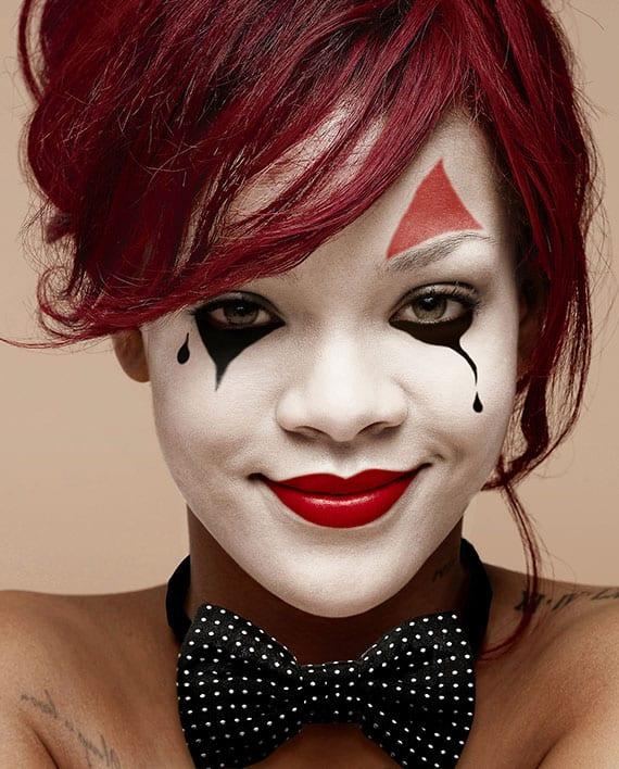 vom vom Rihanna's halloween makeup inspirieren und für die gruselparty als Pierrette oder Harlekina schminken