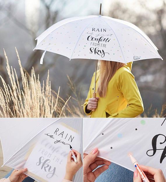coole gestaltungsideen für einen lustigen regenschirm
