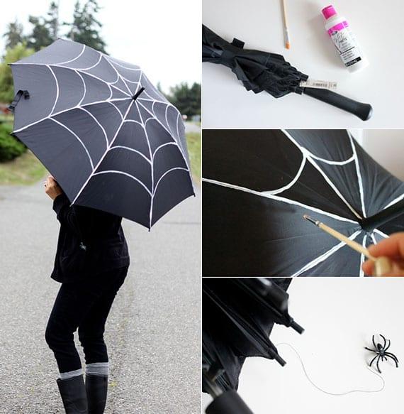 der regenschirm als halloween-accessoire_diy spinnennetz-regenschirm