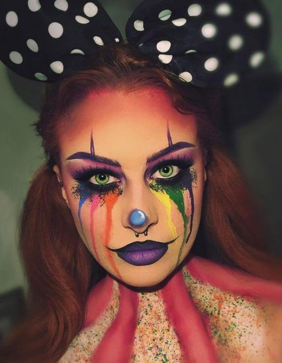 halloween makeup clown idee mit bunten aquafarben