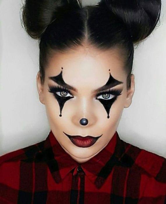 make up ideen zu halloween für einen weiblichen gruseligen Clown-Look
