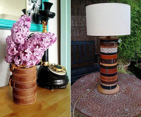 coole bastelideen mit ledergürtel für attraktive diy vasen und tischlampen