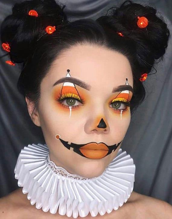 halloween makeup clown als Jack-O-Lantern
