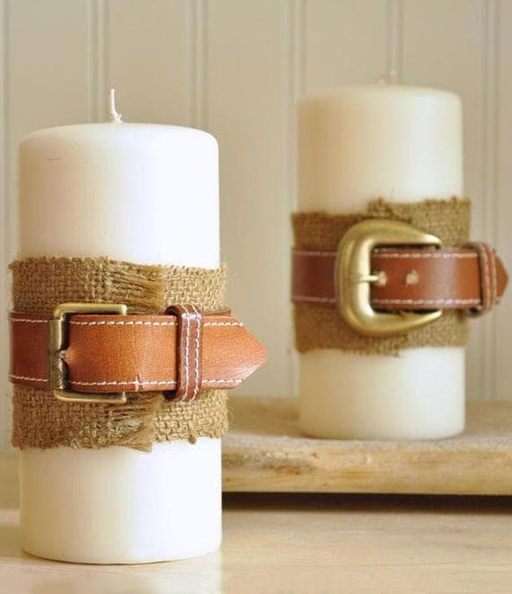 originelle tisch deko idee mit kerzen und ledergürtel