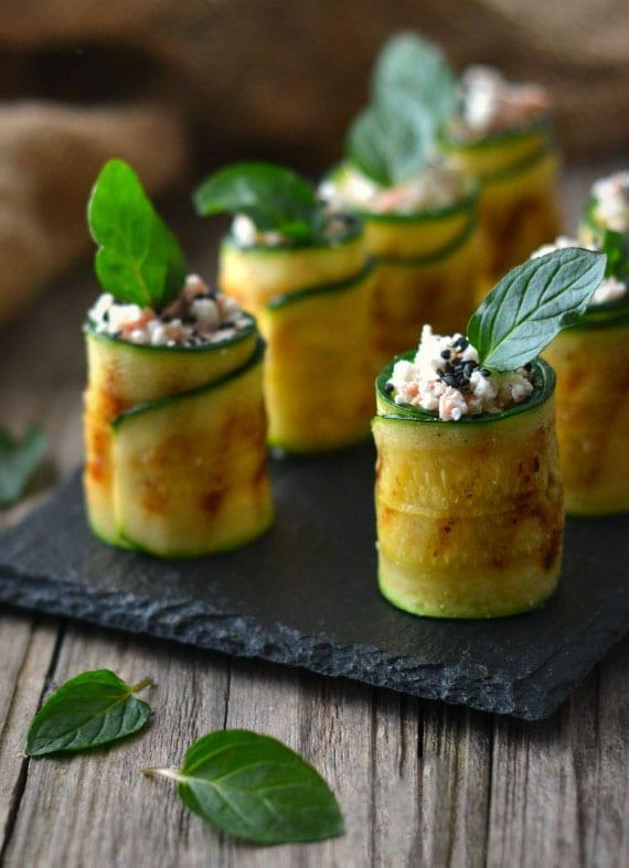 zucchiniröllchen als partysnacks fingerfood kalt