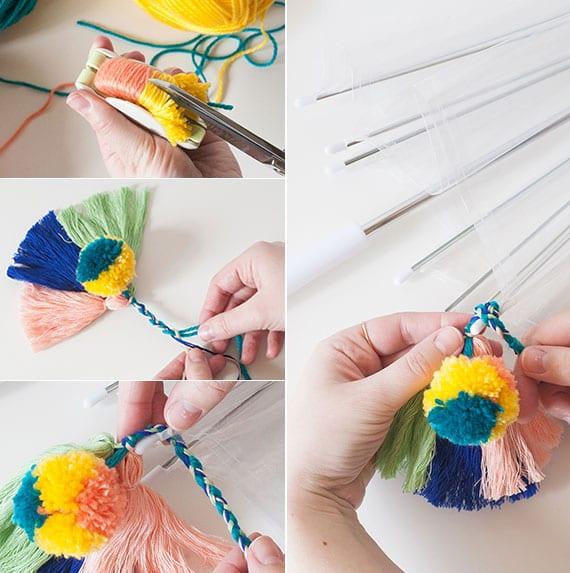 kreatives basteln mit pompons und quasten_diy boho regenschirm als originelle geschenkidee