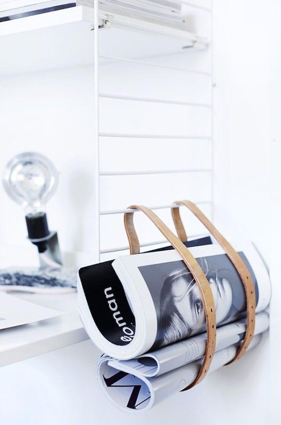 diy Zeitschriftenständer aus ledergürteln als dekorative und nützliche zimmerdeko
