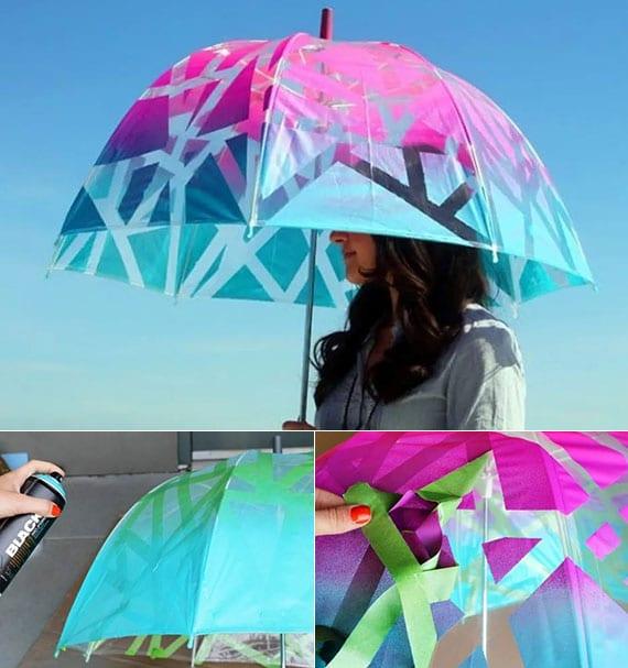 der regenschirm als farbenfrohes assessoire fürs regenwetter_diy ombre regenschirm mit sprühfarben