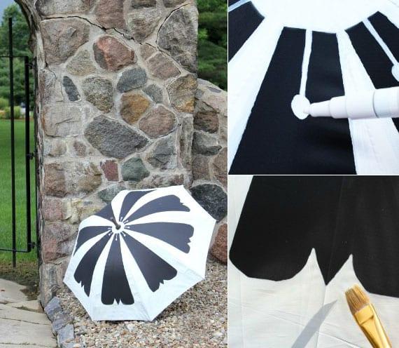 mit weißer textilfarbe und glanzlackmarker den schwarzen schirm in schöne blüte verwandeln
