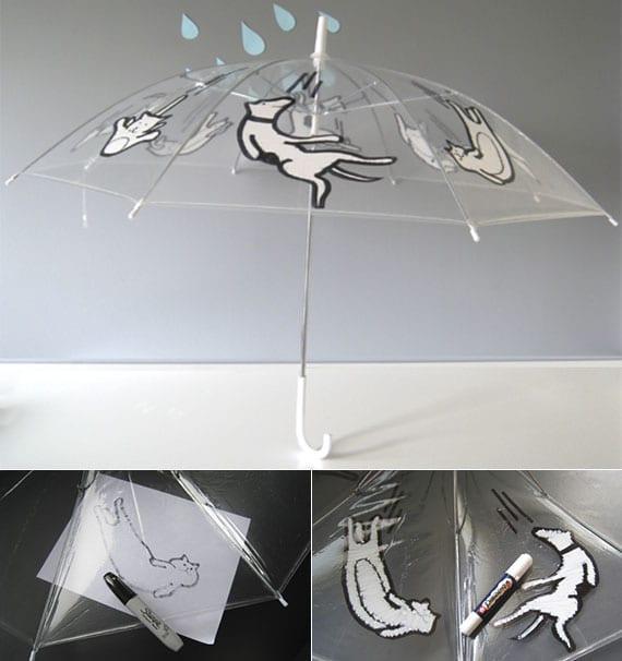 originelle gestaltungsideen für durchsichtige regenschirme