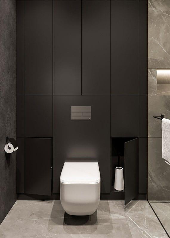 kleine badezimmer organisieren und offen wirken lassen durch versteckte schränke
