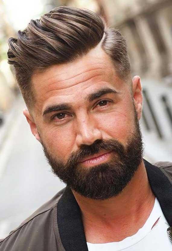 der klassische Comb-Over als passende kurzhaarfrisur für stylische männer mit haarausfall