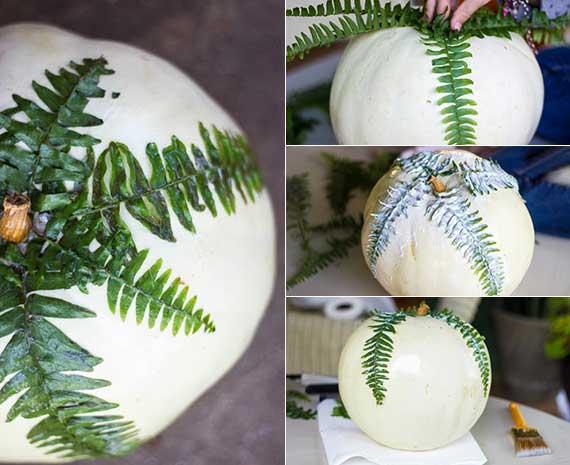 kürbis ideen für attraktive wohndeko im herbst und winter mit decoupage von grünen farnblättern