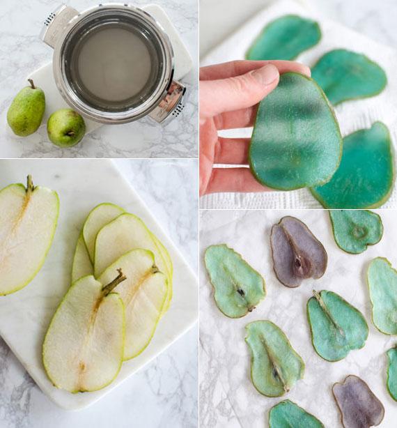 anleitung für hausgemachte farbige birnenchisp als gesunder snack für partys und originelle tortendeko