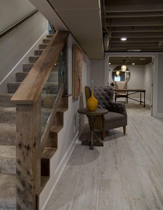 kellerraum als rückzugsort modern und gemütlich gestalten mit holz,wandfarbe grau und vintage möbeln