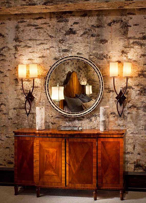 schöne wohnideen für angenehme und natürliche raumgestaltung im rustikalen bauerhaus stil mittels wandverkleidung mit fototapeten
