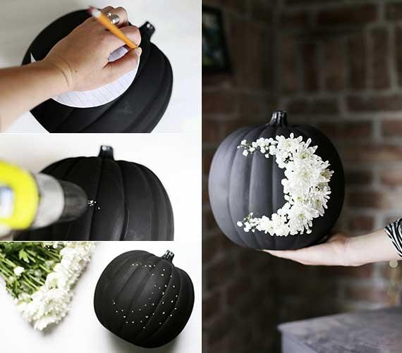 kreative bastelideen für ausgefallene herbstdeko und halloween deko mit blumen und kürbis