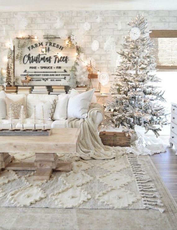 rustikale weihnachtsdeko ideen für gemptliche weihnachten in weiß