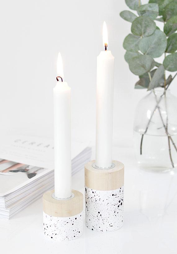 weihnachtsgeschenke für eltern basteln _diy kerzenhalter aus holz