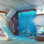 effektvolle Wohnidee für Raumteilung offener Wohnbereiche durch eine Aquarium-Trennwand