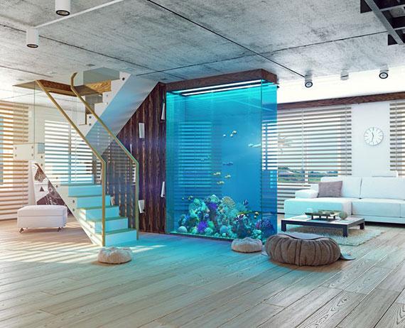 aquarium als raumteiler und besonderes Highlight im wohnzimmer einrichten