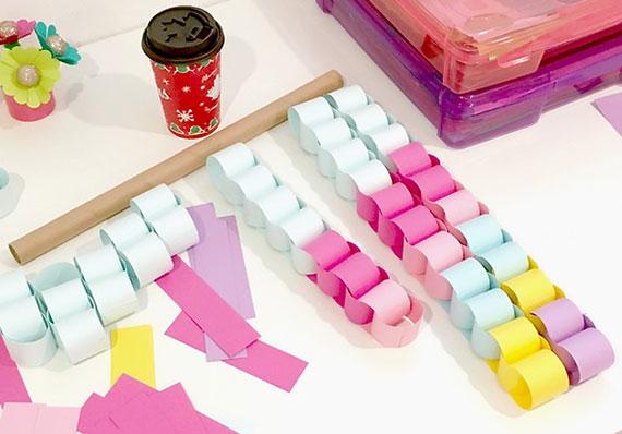 bastelarbeiten für tolle wanddekoration aus papier in pastellfarben