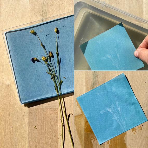 interessante bastelarbeiten und dekoideen mit selbstgemachten blumenbildern in blaudruck