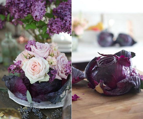 frühlingshafte tischdeko mit diy mittelstück zu ostern mit kleinem rosenstraß in vase aus rotkohl